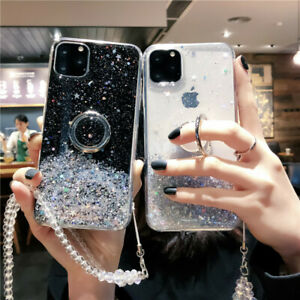 Girl Sparkle Bling Ring holder Stand Clear Phone Case & Crystal Chain for Huawei