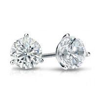 1ct (5.0mm) Platinum VS/FG GENUINE Round Moissanite Diamond Stud Earrings