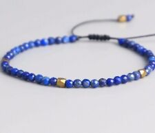 Natural Lapis Lazuli Stone Beaded Bracelet Gemstone Crystal Meditation Cord