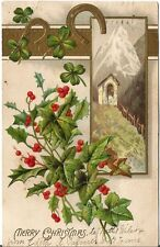 """1907 Embossed """"Merry Christmas"""" Greeting Postcard - double postmarked in USA"""