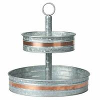 Galvanized Two Tiered Serving Stand - Farmhouse 2 Tier Metal Tray Platter