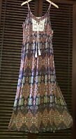 L CROCHET Maxi Dress BOHO Vintage SLITS White Blue Orange Ecru Natural