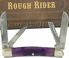 Rough Rider Purple Mini Whittler Pocket Knife RR1259 4 Folding Blades Smooth Hdl