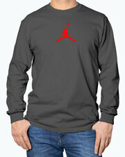 Red Jumpman Logo Michael Jordan Flight Jumpman Long Sleeve T-Shirt