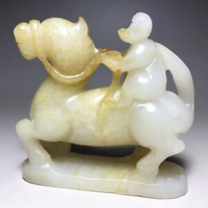 CHINESE ANTIQUE HETIAN JADE CARVING OF HORSE MONKEY