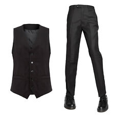 Gilet panciotto smanicato e pantalone uomo elegante divisa bar ristorante nero