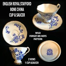 ENGLISH ROYAL STAFFORD BONE CHINA CUP & SAUCER WILD BLUE FORGET-ME-NOTS PATTERN