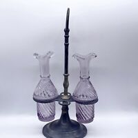 "Antique Victorian Hand Blown Sun Purple Two Glass Bottle Castor Set 11""H 6""W"