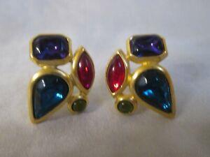 Vintage Trifari 70's/80's Cabochon Multi Colored Earrings