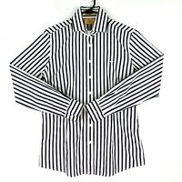 NEW RM Williams Women's Sz 8 Black Striped Collared Button Up Long Sleeve Shirt