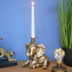 Chilled Out Antique Gold Resin Elephant Candlestick Holder