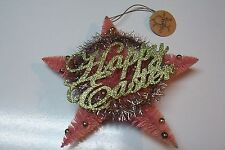 Ragon House Vintage Style Bottlebrush Easter Star Wreath in Pink and Green