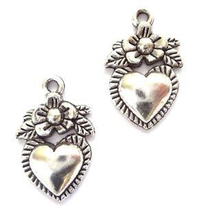 100 Tibetan Silver Heart Charms 12X18mm Jewellery Making