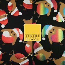 "Festive Metallic Red Rainbow Heart Robins Christmas Textured Jersey Fabric 60"""