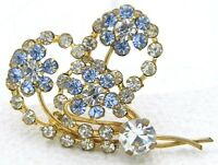 Vintage Gold Tone Blue Clear Rhinestone Heart Flower Pin Brooch
