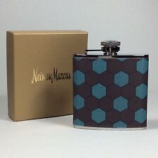 Neiman Marcus Boxed Honeycomb - Print Fabric Flask.Turquoise/Brown.Nwt .