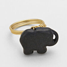 CUTE  Gold Black Howlite Lucky Elephant Ring  By Rocks Boutique