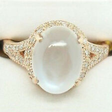 New Fashion 14K Yellow Gold Plated Moonstone Ring Engagement Women Jewelry Gifts