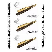 Classic Stainless Steel Men's Barber Salon Shaving Razor Gold & Black Free Blade