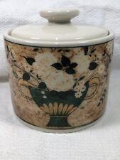 White Roses 1997 Warren Kimble by Sakura Sugar Bowl with Lid