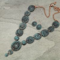 Long Western Turquoise Patina Copper-tone Concho Necklace Set