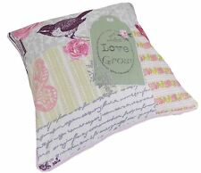 "FILLED LIVE LOVE GROW SHABBY PINK BIRDS ROSE FLORAL COTTON CHIC CUSHION 18"" 45CM"