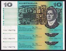 Ten Dollars $10 Australian Banknotes 1983 Johnston Stone P-308 Consecutive Trio