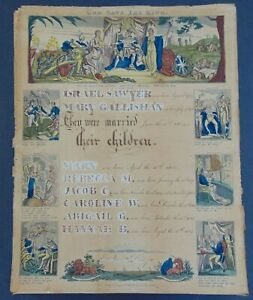 c.1800 -  PARTIALLY PRINTED HAND COLORED CALLIGRAPHIC FAMILY HISTORY DOCUMENT