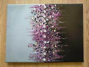 Original Art Painting Canvas Embellished Glitter Sparkle Purple Silver Black