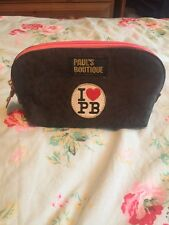 Paul's Boutique Leopard Print Makeup Bag Pencil Case Clutch Pink Zip