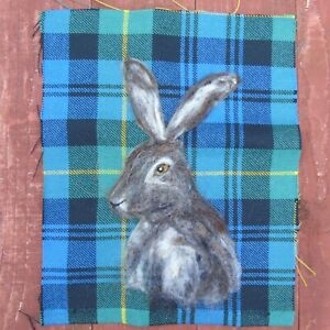 Handmade Needle Felted Picture of a hare 9.5 x 12 ins - on wool tartan fabric
