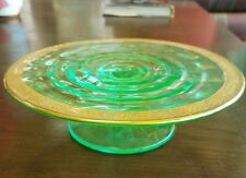 Uranium Glass Green Gold Rim Stand Dish Paden City Party Line Depression Deco