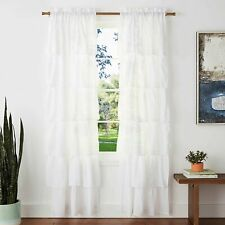 "Dainty Home Carnival Ruffled Rod Pocket Window Curtain Panel Pair 76"" x 84"""