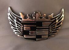 Vintage Cadillac Logo Emblem Chrome Black Belt Buckle - Unisex