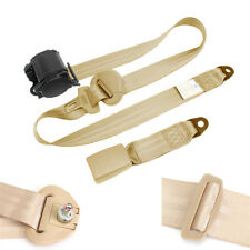 Universal Car Seat Belts 3 Point Style Buckle Adujstable Nylon Beige Extension