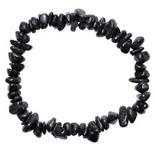 CHARGED Natural Black Tourmaline Crystal Chip Stretchy Bracelet + Selenite Heart