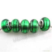 1 emerald green foil glass European charm bead - lampwork shiny stripe big hole