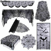 Black Spiderweb Fireplace Mantle Scarf Cover Table cloth Halloween Home Decor