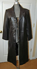 NWT - WOMENS XS CENTIGRADE LONG DARK BROWN 100% LEATHER TRENCH COAT JACKET