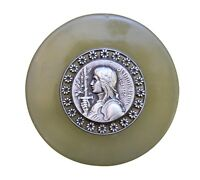 French Antique Religious Saint Joan of Arc Green Onyx Paperweight