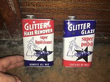 2 Vintage Tin Cans , 1950's Car Wax GLitter Polish  57 Chevy.  Patriotic colors.