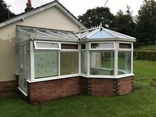 VICTORIAN P-SHAPE STYLE CONSERVATORY BLUE GLASS ROOF WHITE UPVC CAN DELIVER