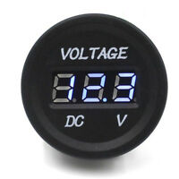 Digitalanzeige Voltmeter DC 12V-24V fuer Auto Motorrad Wasserdichte LED (blau ES