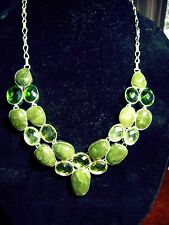 Large Bib Necklace Silver Plate Jade faceted Green & Gold Quartz 22 stones 23""