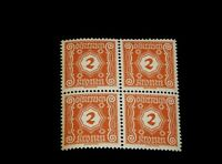 Vintage Stamp, AUSTRIA POSTAGE DUE, 1922 BLOCK OF 4, MNH, 2 K, # AT J104, Brown