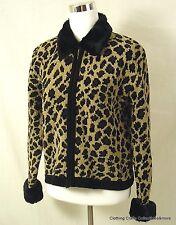 Leopard Print Chenille Sweater Sz Medium Black Faux Fur Collar and Cuffs