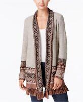 NEW Style & Co Petite Jacquard Fringe Cardigan Hammock Heather Combo PM PL $69