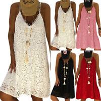 Plus Size Womens Lace Sleeveless Midi Dress Summer Loose Tunic Tops Shirt Blouse