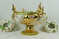 Vintage italian porcelain Centerpiece bowl with encrusted flowers and birds