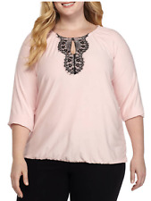New Directions Stretch Knit 3/4 Sleeve Stretch Bottom Lace Bib Front Top 3X Pink